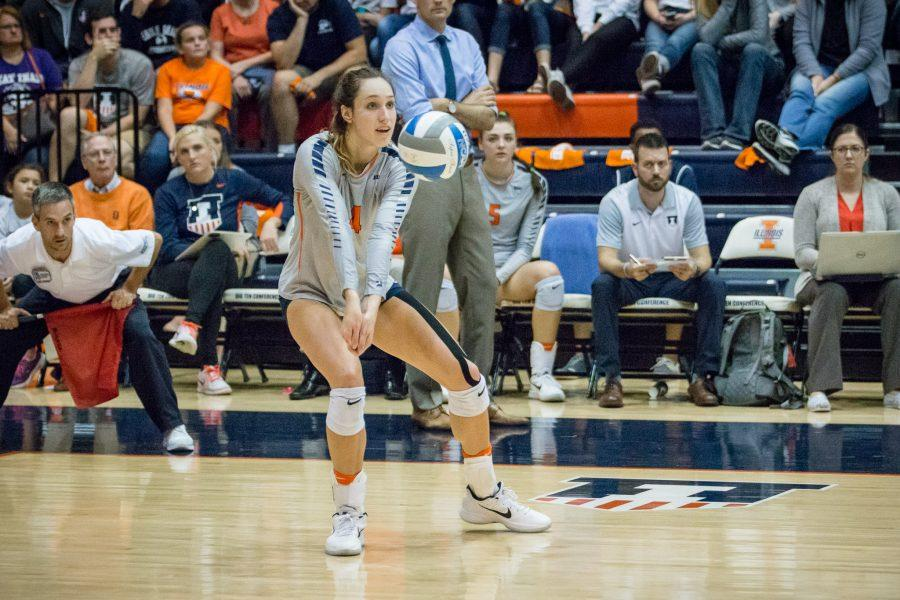 Illinois%27+Michelle+Strizak+passes+the+ball+during+the+match+against+Northwestern+at+Huff+Hall+on+Saturday%2C+October+15.+The+Illini+won+3-0.