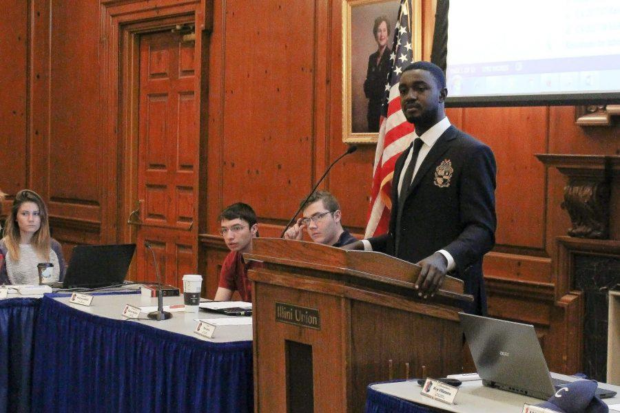 Student+body+president+Ron+Lewis+addresses+the+student+senate.+The+last+meeting+under+the+current+administration+was+on+Wednesday%2C+April+12.+