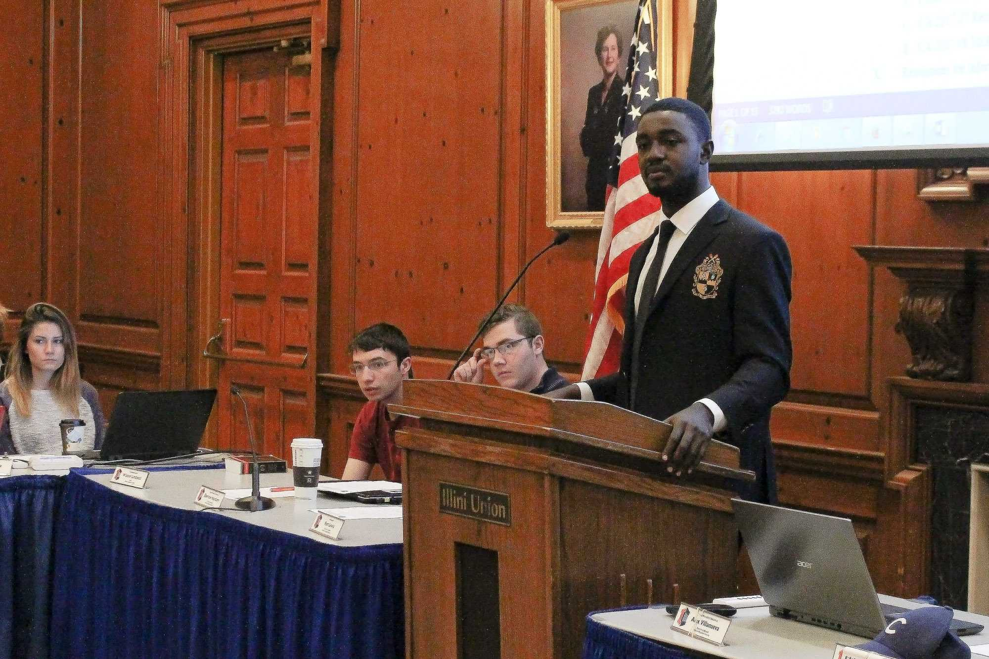 Student body president Ron Lewis addresses the student senate. The last meeting under the current administration was on Wednesday, April 12.