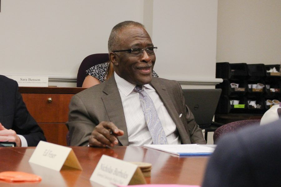 Chancellor Robert Jones attends his first Senate Executive Commitee meeting in the English Building on Monday.