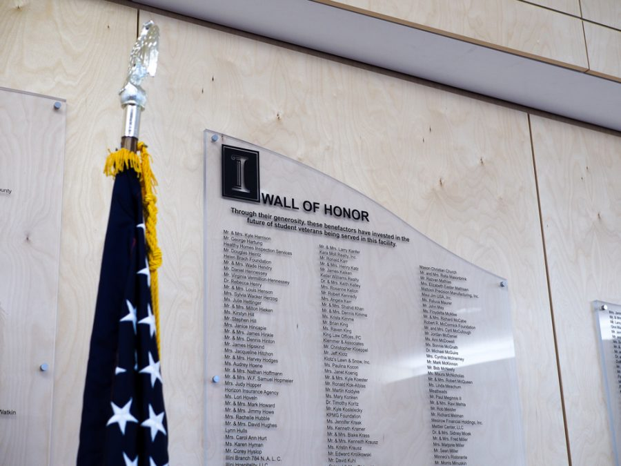 The Wall Of Honor found in the entrance of the Center for Wounded Veterans in Higher Education in Urbana.