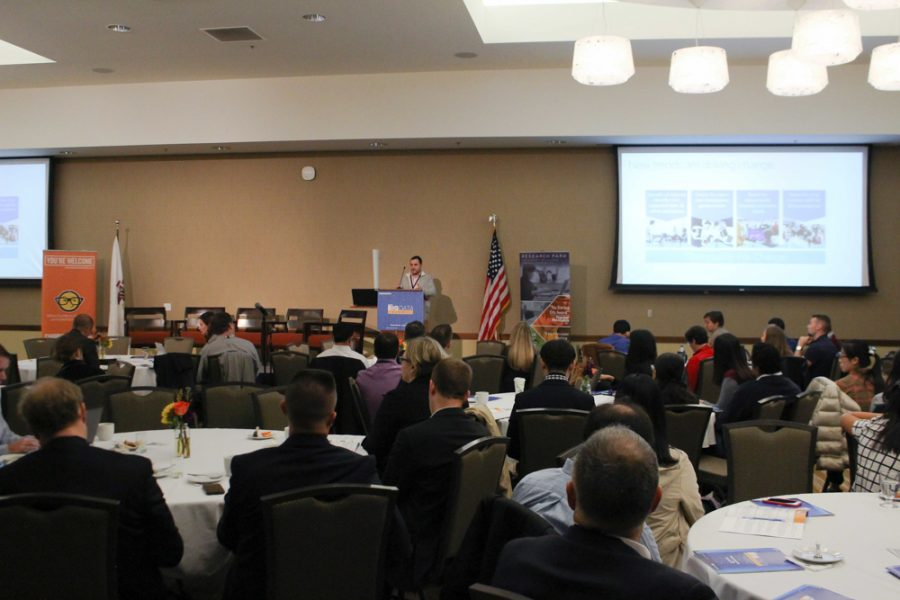 Adam Hecktman of Microsoft delivers a presentation on innovations in civic technology as the morning keynote speaker.