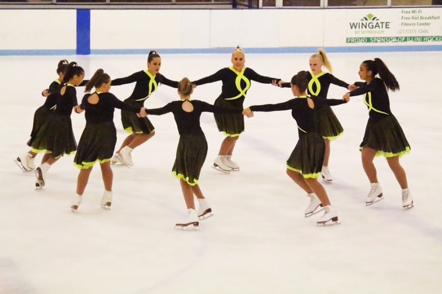 The Ice Cubes performs their group routine at the annual Fall Skating Exhibition at the Ice Arena on Saturday.