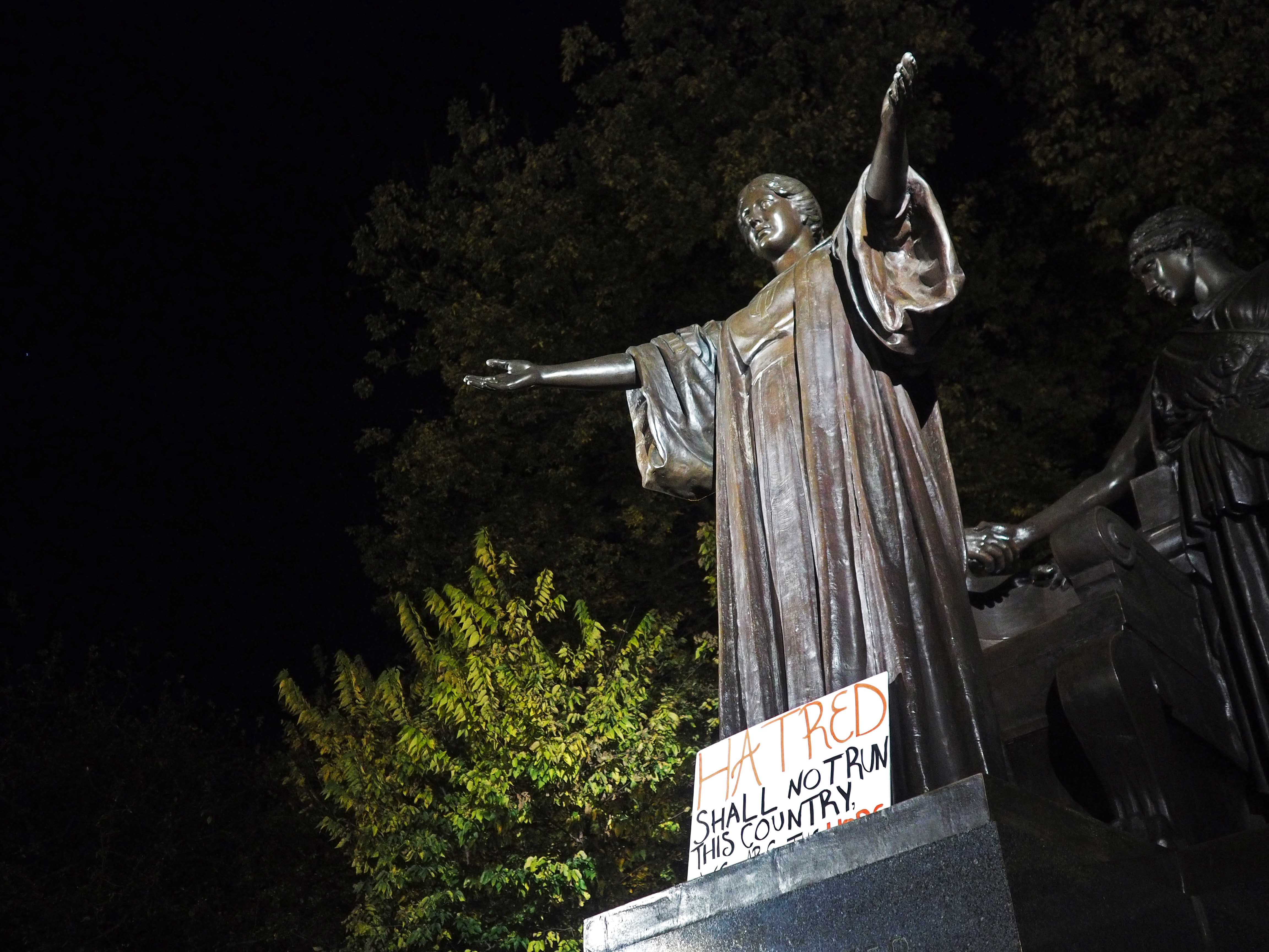 Students rally at Alma Mater to express dissatisfaction with the president elect on Wednesday night.