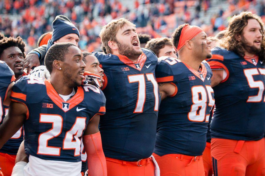 Illinois+offensive+lineman+Joe+Spencer+%2871%29+sings+%22Hail+to+the+Orange%22+after+defeating+Michigan+State+at+Memorial+Stadium+on+Saturday%2C+November+5.+The+Illini+won+31-27.