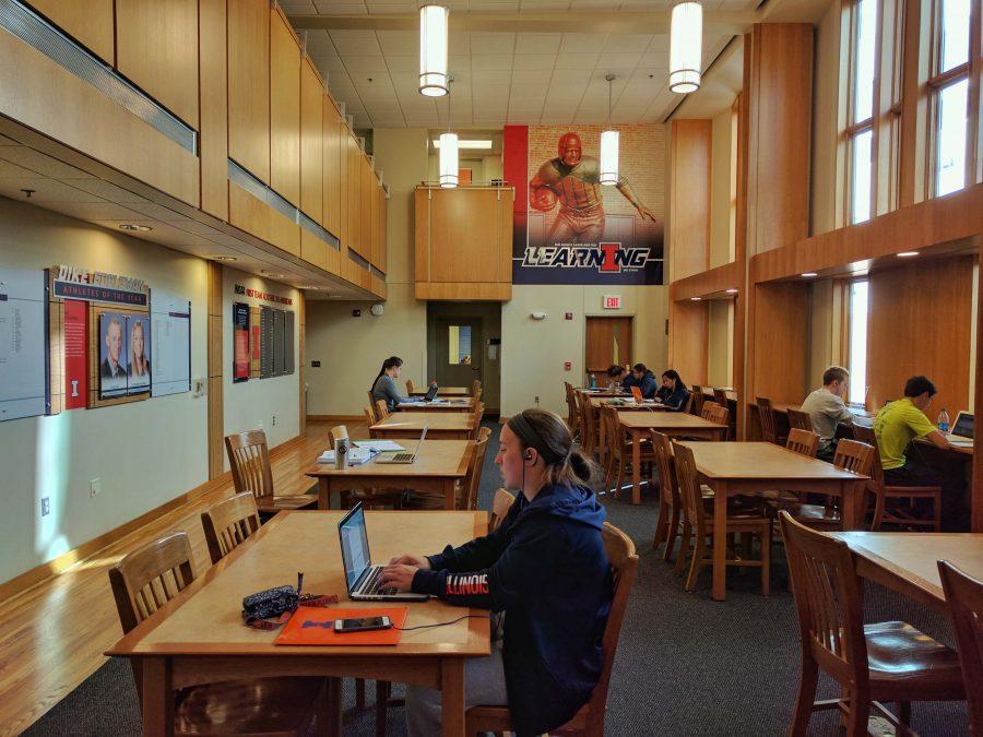 Student athletes study at the Irwin Academic Center on Sunday.