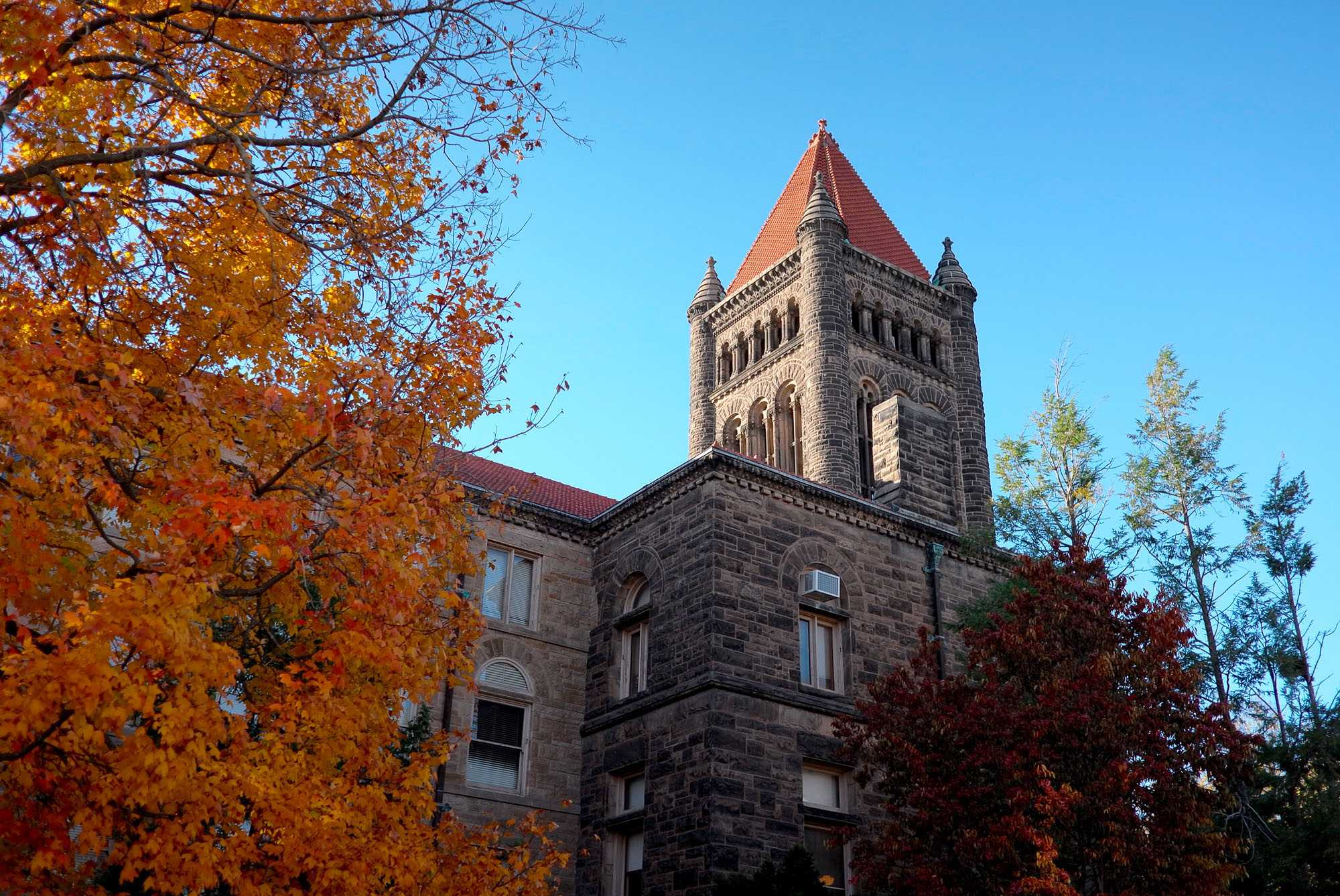The view outside the Altgeld Hall, where the Mathematics Department is located, on November 6.