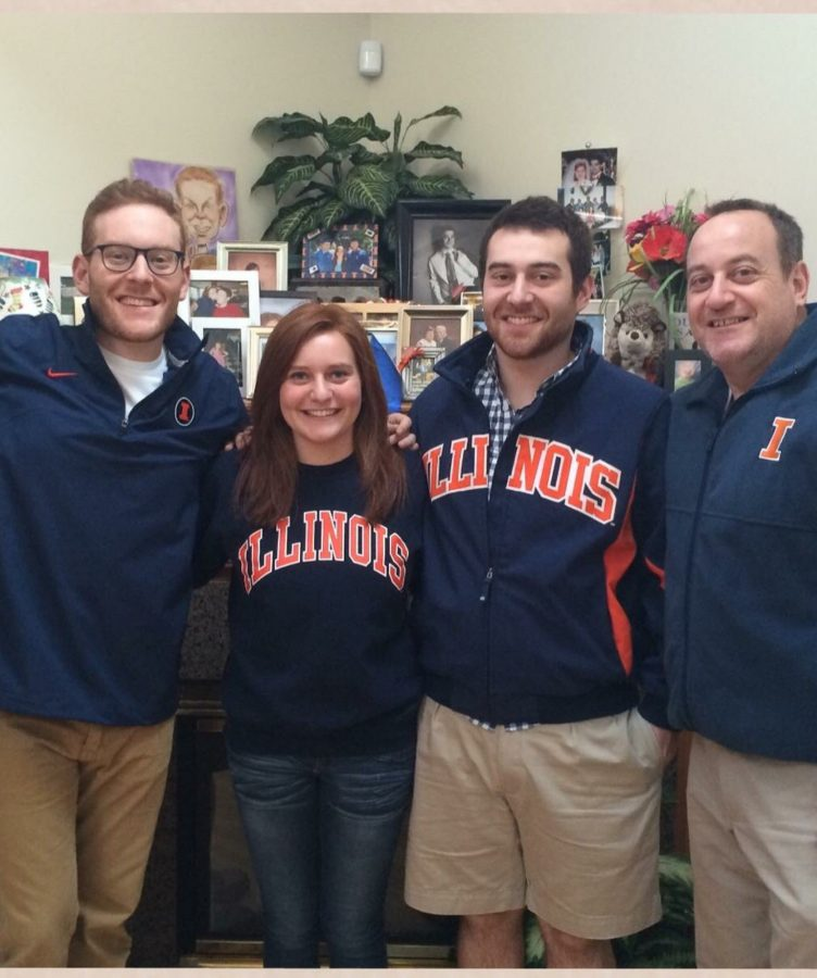 Delanie+Steinweg+%28center+left%29+comes+from+an+Illini+family.+Her+father%2C+Ed+%28right%29%2C+is+a+University+alumnus%2C+as+well+as+her+two+brothers.