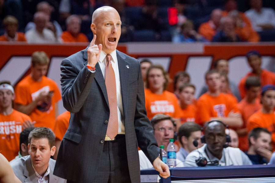 Illinois head coach John Groce shouts instructions to his team from the sideline during the game against Northern Kentucky at State Farm Center on Sunday, November 13. The Illini won 81-62.