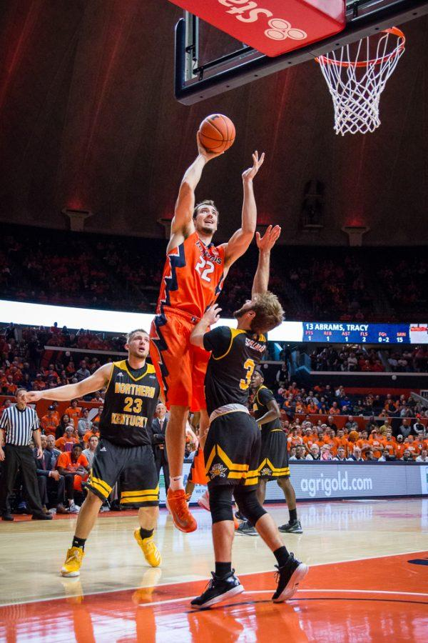 Illinois' Maverick Morgan (22) shoots a layup over Northn Kentucky's Blake Spellman (3) during the game at State Farm Center on Sunday, November 13. The Illini won 79-64.