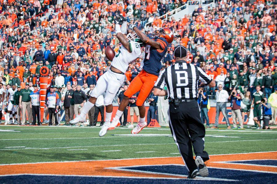 Illinois wide receiver Sam Mays (9) misses a pass during the game against Michigan State at Memorial Stadium on Saturday, November 5. The Illini won 31-27.