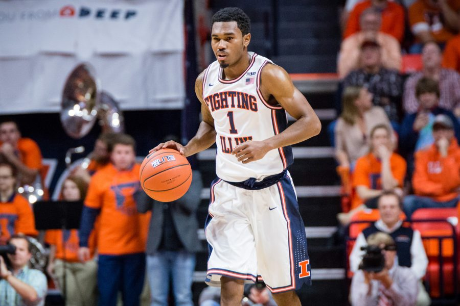 Illinois' Jaylon Tate (1) brings the ball up the floor during the game against North Carolina State at State Farm Center on Tuesday, November 29. The Illini won 88-74.