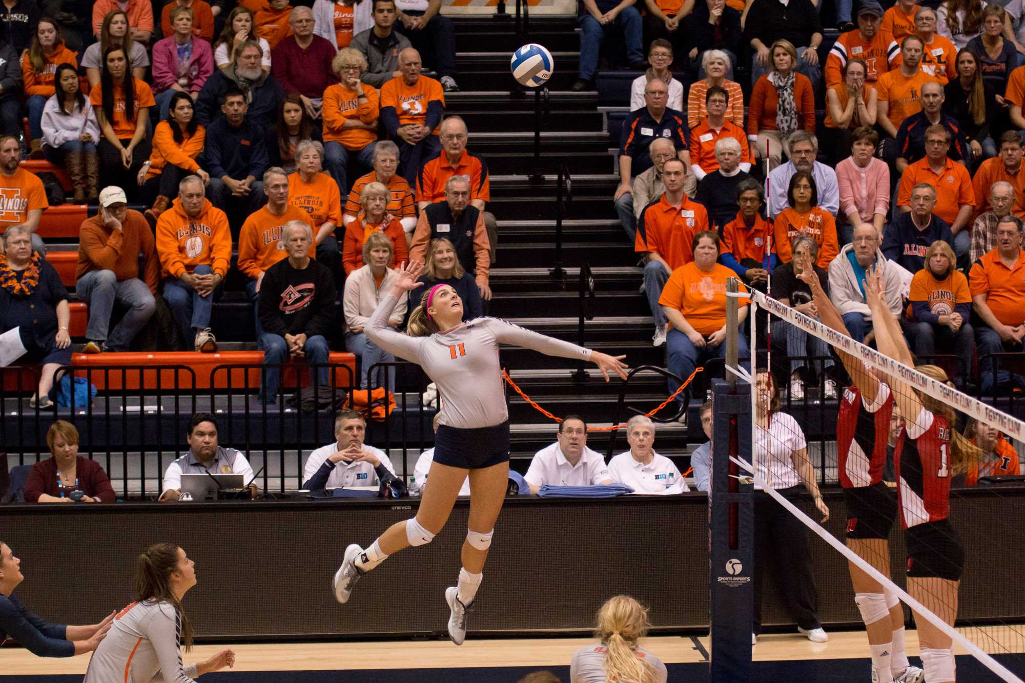 Illinois' Katie Roustio gets ready to spike the ball during the match against Wisconsin at Huff Hall on Wednesday, Nov. 18, 2015. Illinois lost 3-2.