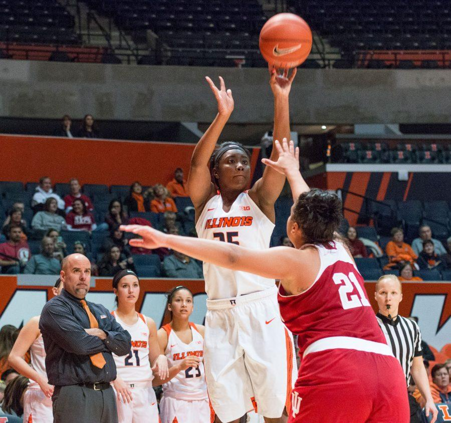 Illinois' Kennedy Cattenhead shoots a three during the game against Indiana at the State Farm Center on February 10. The Illini lost 70-68.