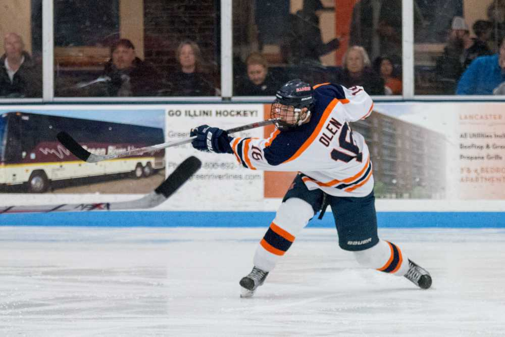 Illinois' John Olen takes a shot during the game against Indiana Tech at the Ice Arena on February 27. The Illini won 5-2.
