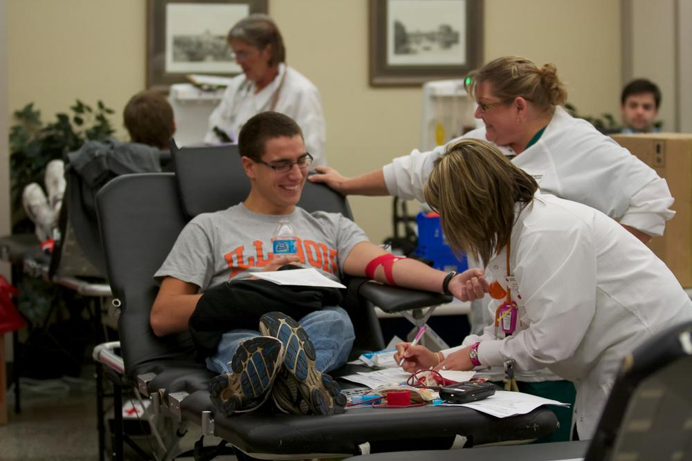Blood drive at Newman Hall from the American Red Cross.