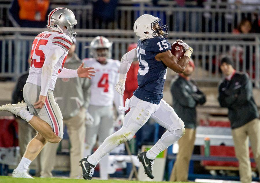 Penn State cornerback Grant Haley (15) recovers a blocked field goal and returns it for a touchdown in the fourth quarter against Ohio State on Saturday, Oct. 22, 2016, at Beaver Stadium in State College, Pa. Penn State won, 24-21. (Abby Drey/Centre Daily Times/TNS)
