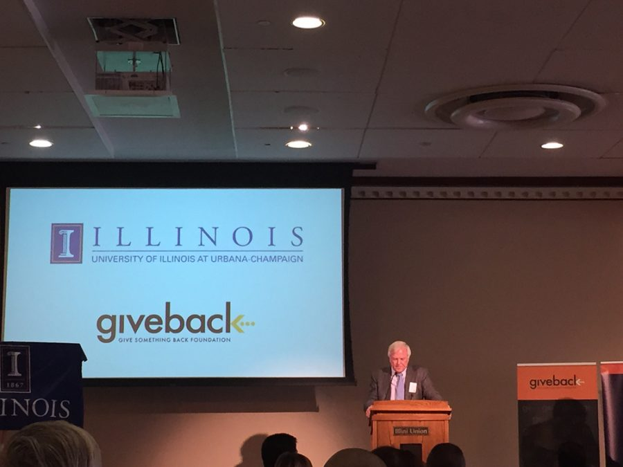 Robert Carr speaks during the Give Something Back event.