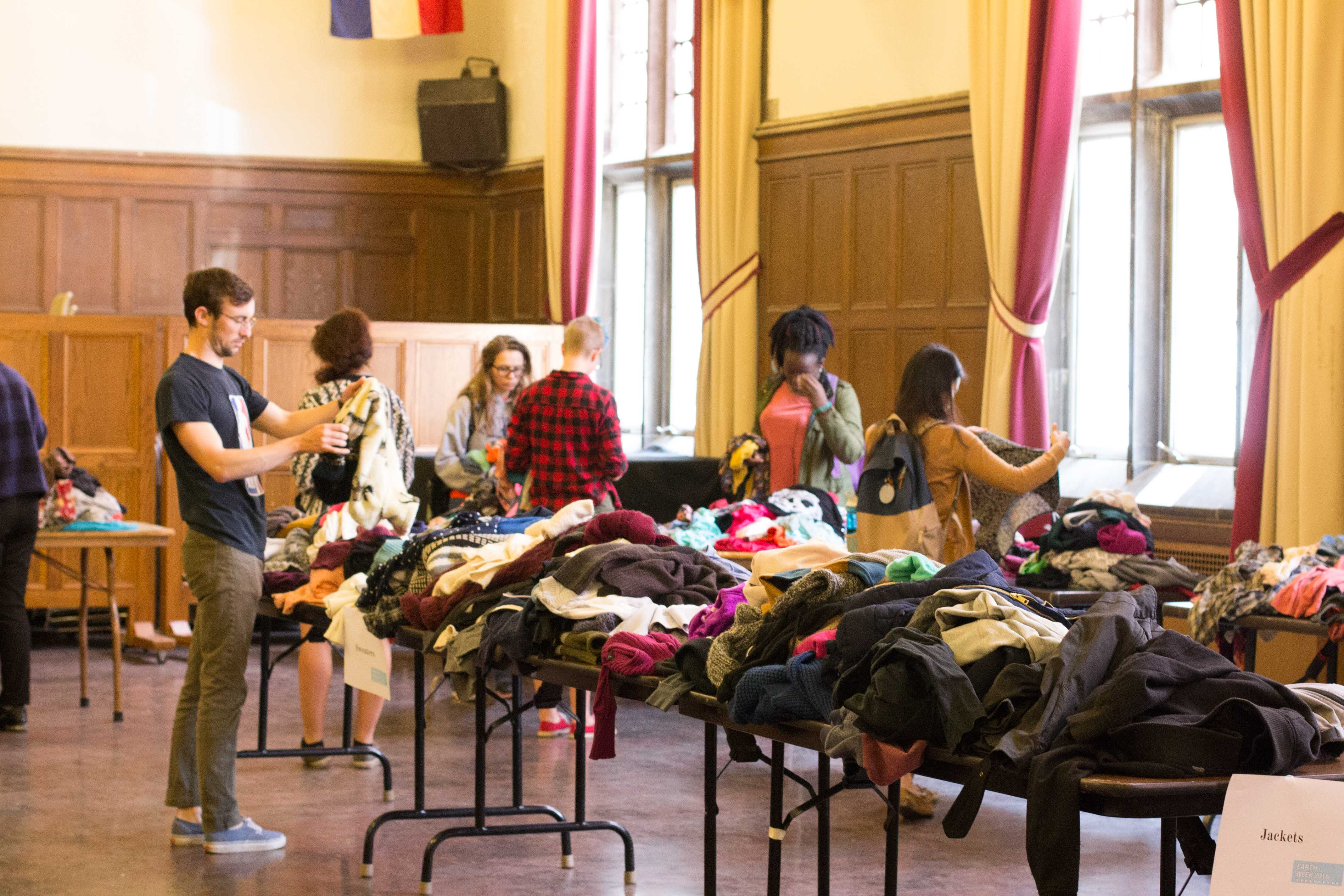 Community members attend the SEC Spring 2016 Clothing Swap as an alternative to buying new clothes while simultaneously mitigating anthropogenic waste.