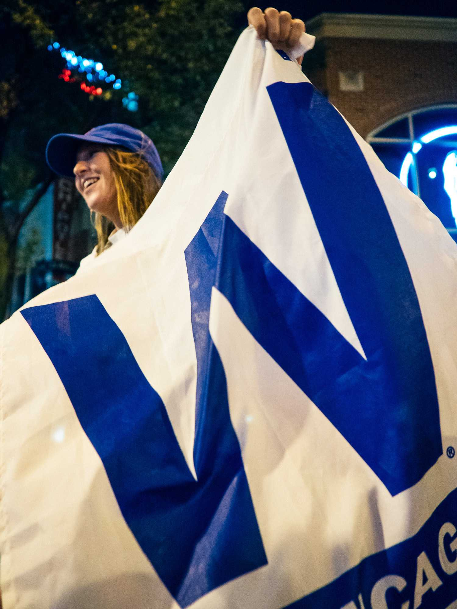 Students celebrate after the Cubs win Game 7 of the 2016 World Series against the Cleveland Indians on Wednesday on Green St.