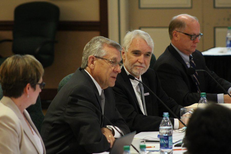 Chairman of the Board Edward L. Macmillan and UIUC president attend the Board of Trustees meeting at the Illini Union on Thursday, Sept. 8,  2016.