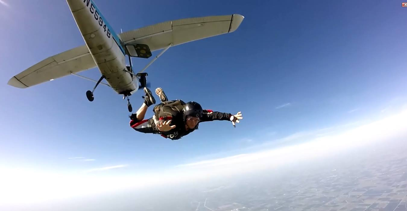 Cody McClintock, President of the Falling Illini, skydives at the Illinois Skydiving Center.
