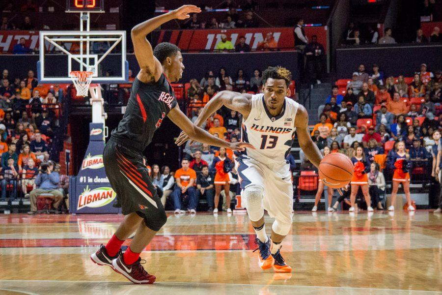 Illinois' Tracy Abrams drives to the basket during the game against Southeast Missouri at State Farm Center on Friday, November 11. The Illini won 81-62.