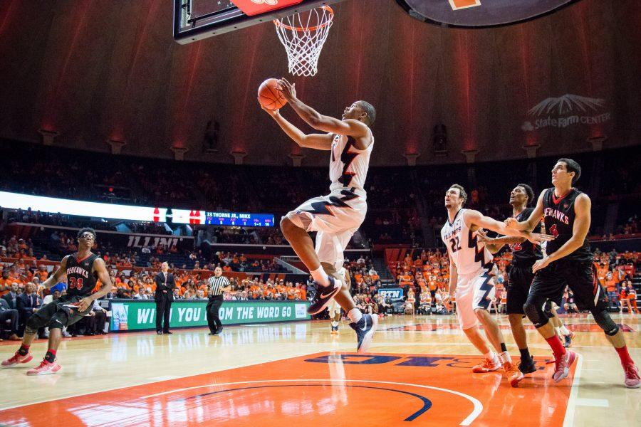 Illinois' Malcolm Hill goes up for a layup during the game against Southeast Missouri at State Farm Center on Friday. The Illini won 81-62.