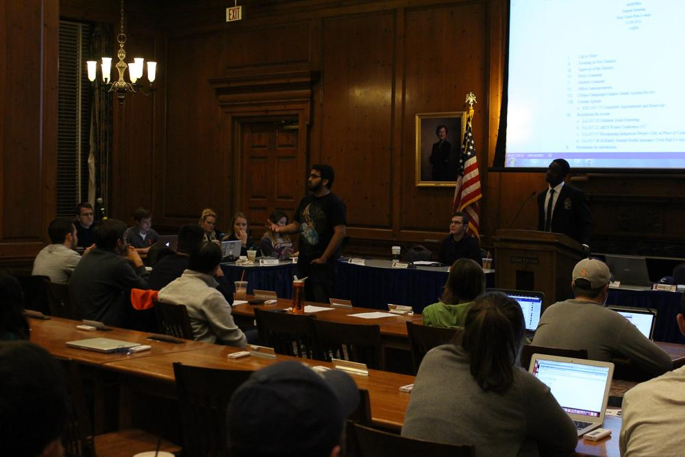 The Illinois Student Senate meetings pictured above are now broadcast through FacebookLive.