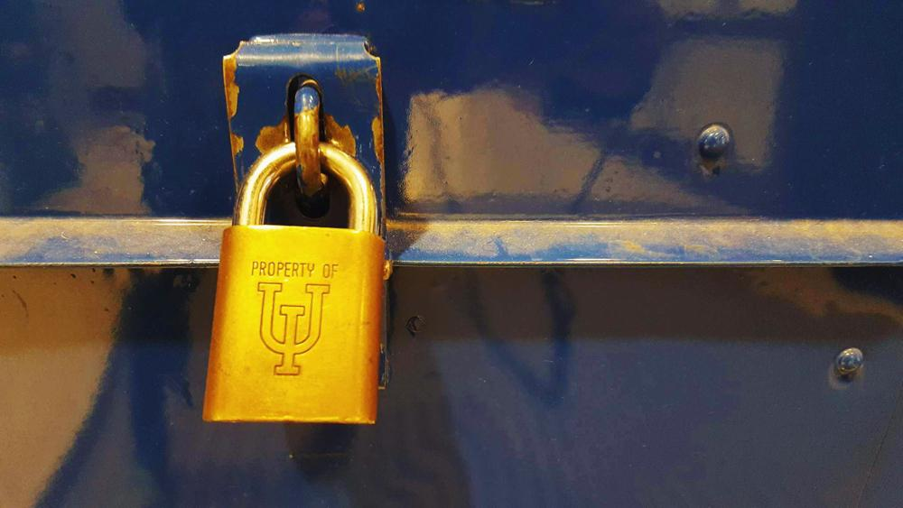 A lock of the University of Illinois at Urbana- Champaign on a mailbox in Lincoln Hall.