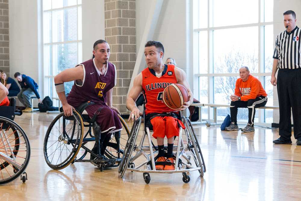 Illinois' Ryan Neiswender dribbles to the basket during the game against Arizona State University at the Activities and Recreation Center on February 13. The Illini won 69-43.