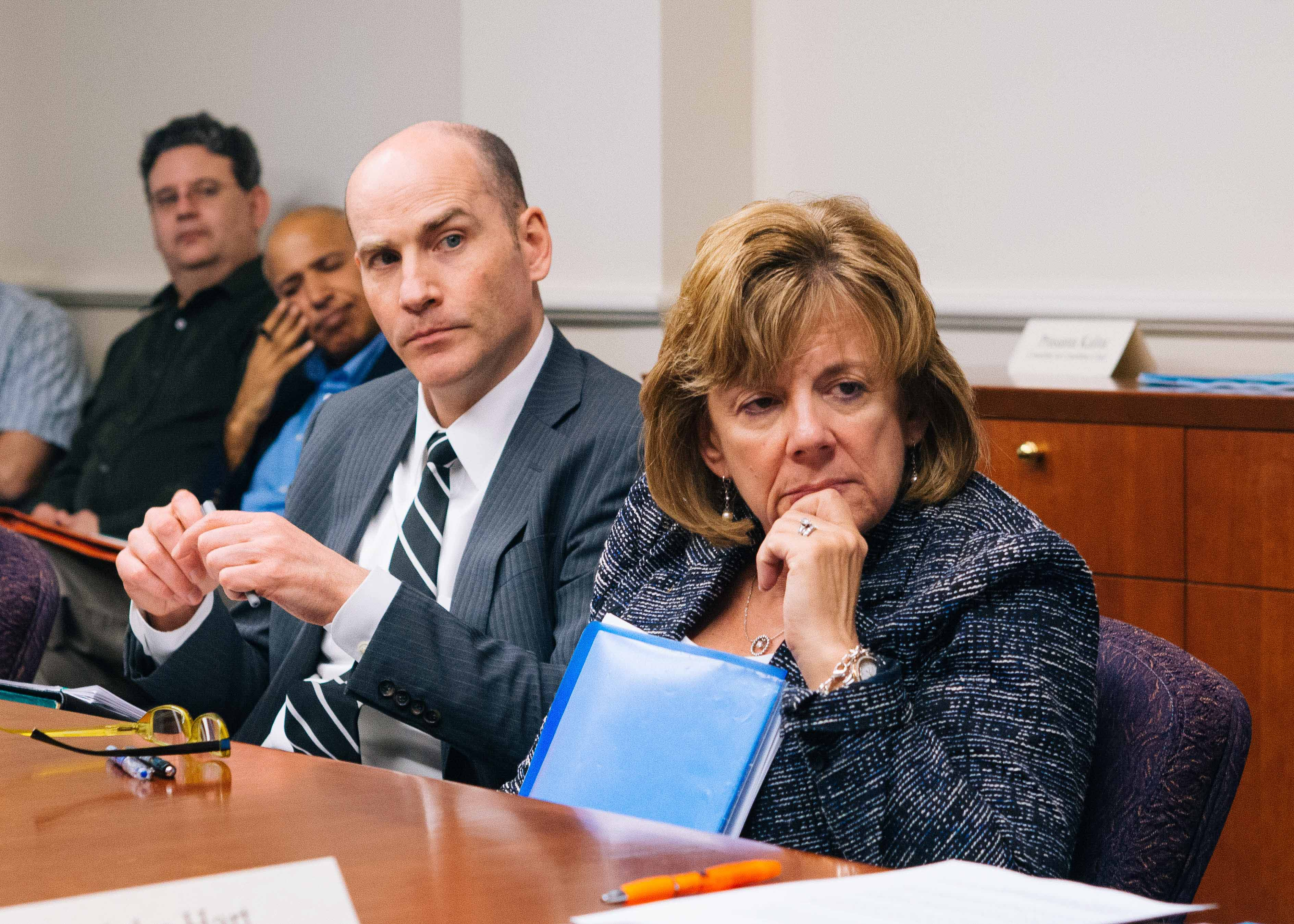 Interim Vice Chancellor Edward Feser and Interim Chancellor Barbara Wilson listen during the SEC meeting in Urbana on April 25.