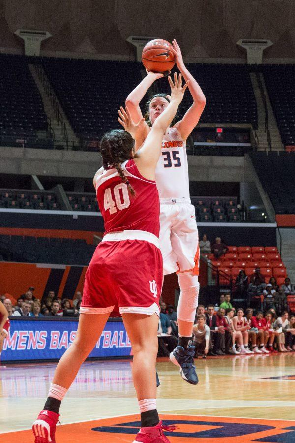 Illinois%27+Alex+Wittinger+shoots+a+jumper+over+Indiana%27s+Lyndsay+Leikem+during+the+game+against+Indiana+at+the+State+Farm+Center+on+February+10.+The+Illini+lost+70-68.