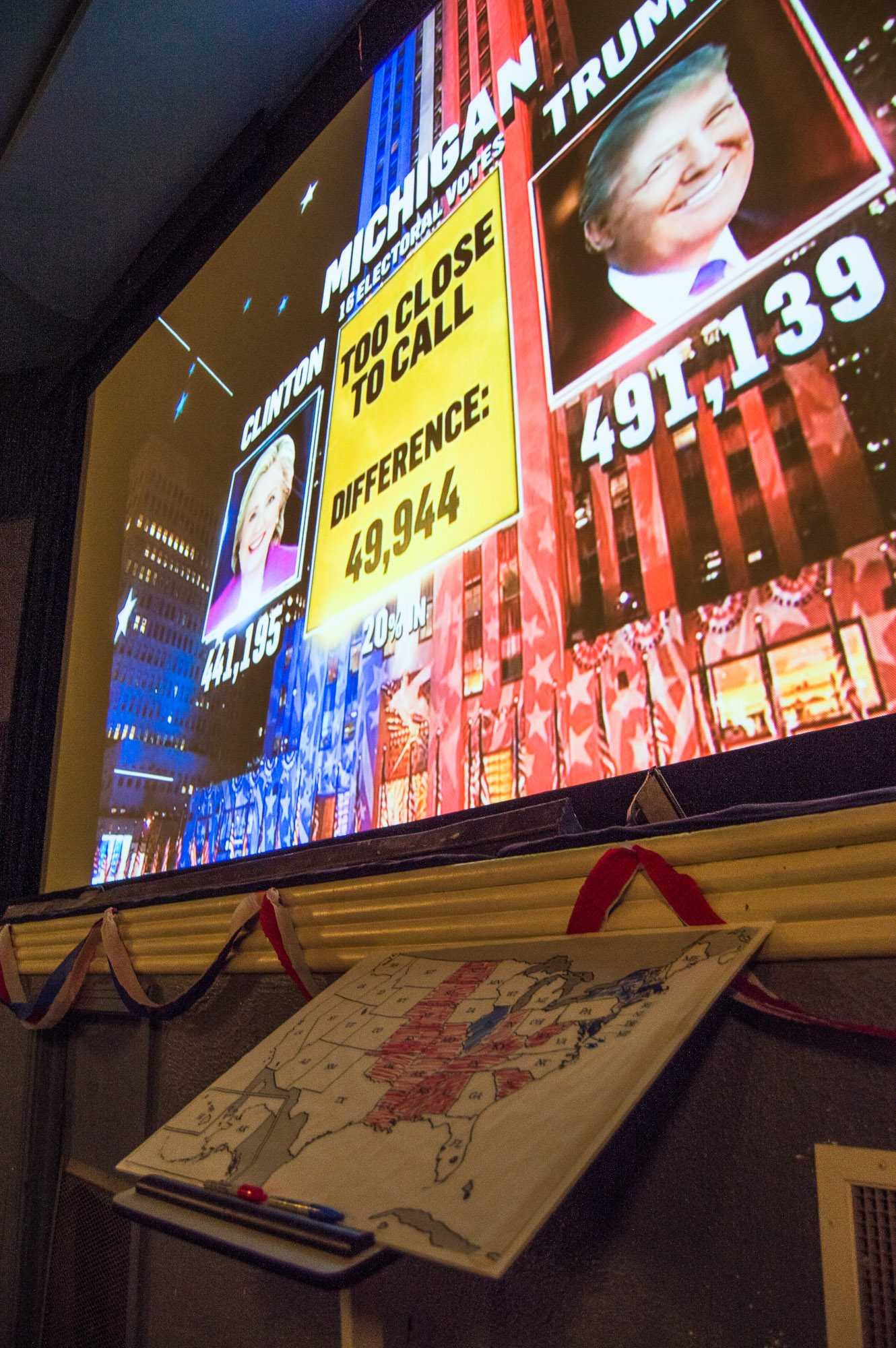 The 2016 election updates are projected on the screen at the Art Theater on Tuesday, November 8, 2016.