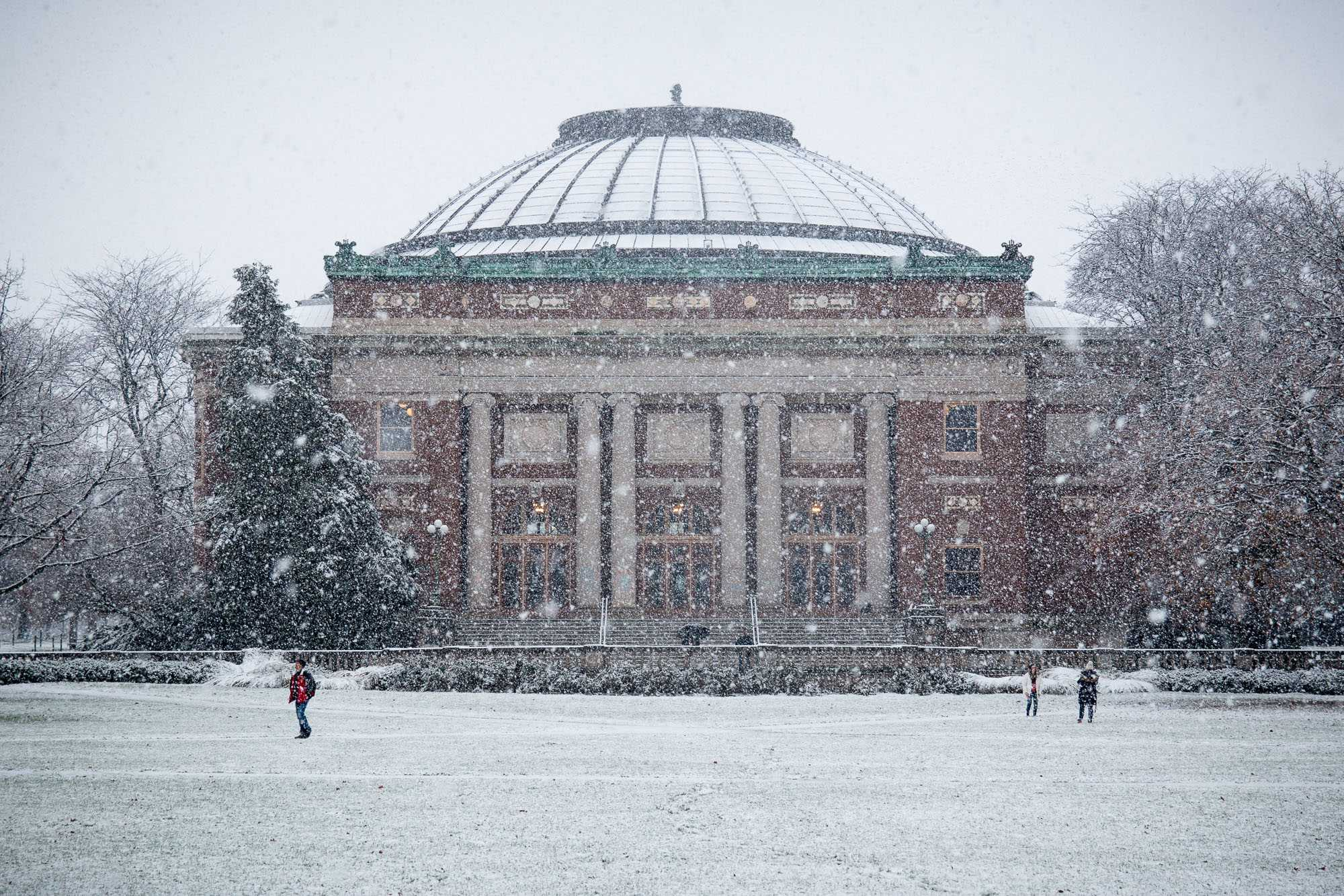 A photo of Foellinger Auditorium in the snow on Dec. 4. University's Winter Session will be effective in the 2017-2018 academic year.