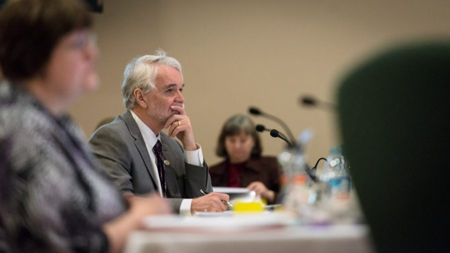 President-elect Timothy L. Killeen listens intently during the board of trustees meeting at the Illini Union on March 12, 2015. He announced a plan to provide more financial aid to middle class students.