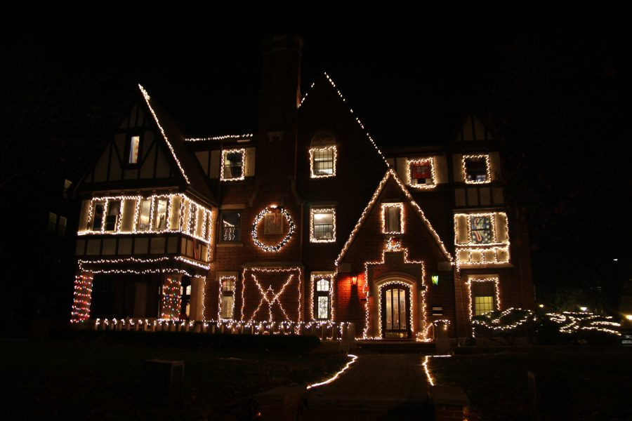 The Christmas lights outside the Delta Upsilon chapter house.