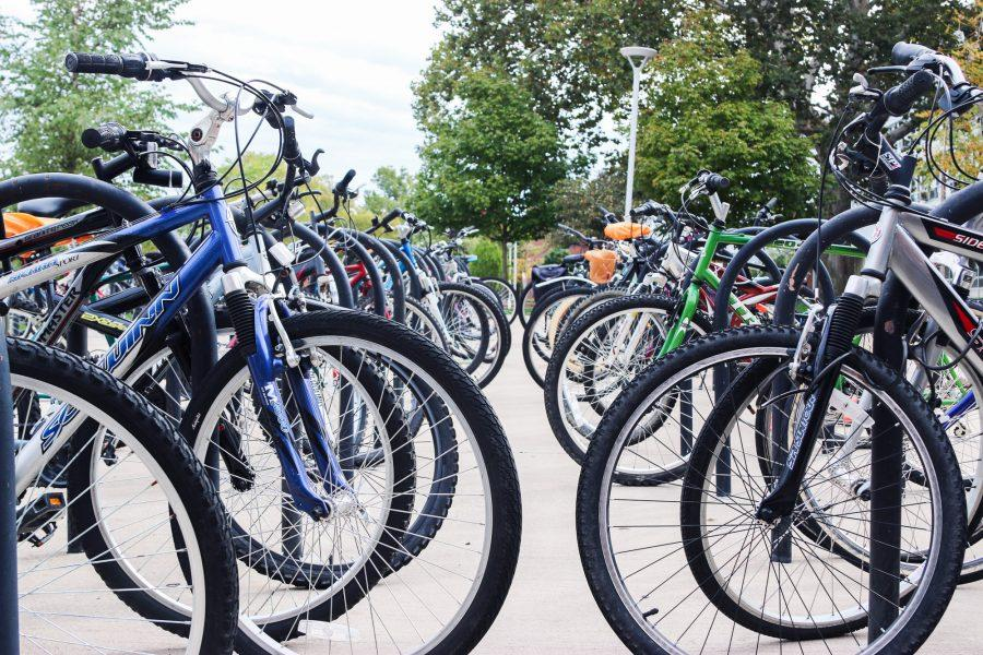 Bicycles are locked up outside Hopkins Hall on October 19th, 2016, which marks the biannual Campus Bicycle Census where volunteers count all of the bicycles on campus.