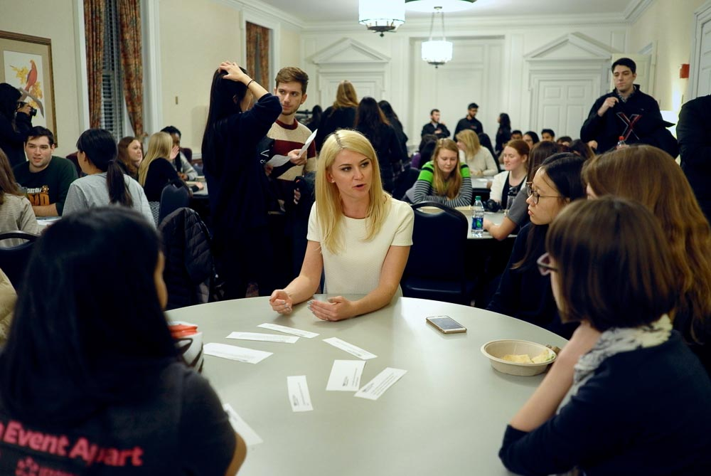 Kalina Borkiewicz, an engineer at the National Center for Supercomputing Applications, having conversation with students during the TEDxUIUC Salon: Women in STEM on Monday night, Dec.1st.
