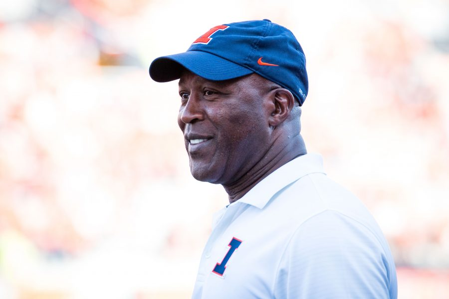 Illinois+head+coach+Lovie+Smith+smiles+during+the+game+against+Murray+State+at+Memorial+Stadium+on+Saturday%2C+September+3.+The+Illini+won+52-3.