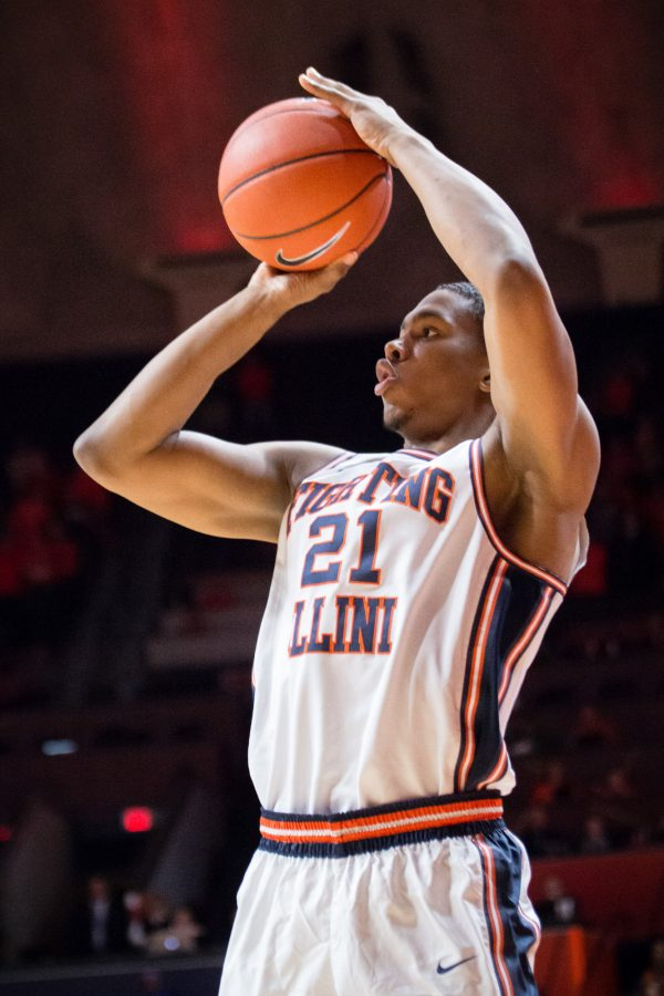 Illinois%27+Malcolm+Hill+%2821%29+shoots+a+three+during+the+game+against+IUPUI+at+State+Farm+Center+on+Tuesday%2C+December+6.+The+Illini+won+85-77.