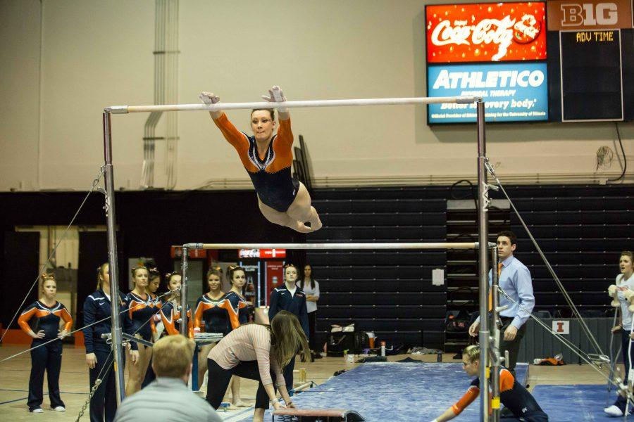 Illinois%27+Sarah+Lyons+performs+a+routine+on+the+uneven+parallel+bars+during+the+State+of+Illinois+Classic+at+Huff+Hall+on+Saturday%2C+March+5%2C+2015.+The+Illini+claimed+victory+for+the+ninth+consecutive+year+with+a+total+of+195.425+over+Northern+Illinois+%28194.225%29%2C+UIC%28192.625%29+and+Illinois+State+%28191.500%29.