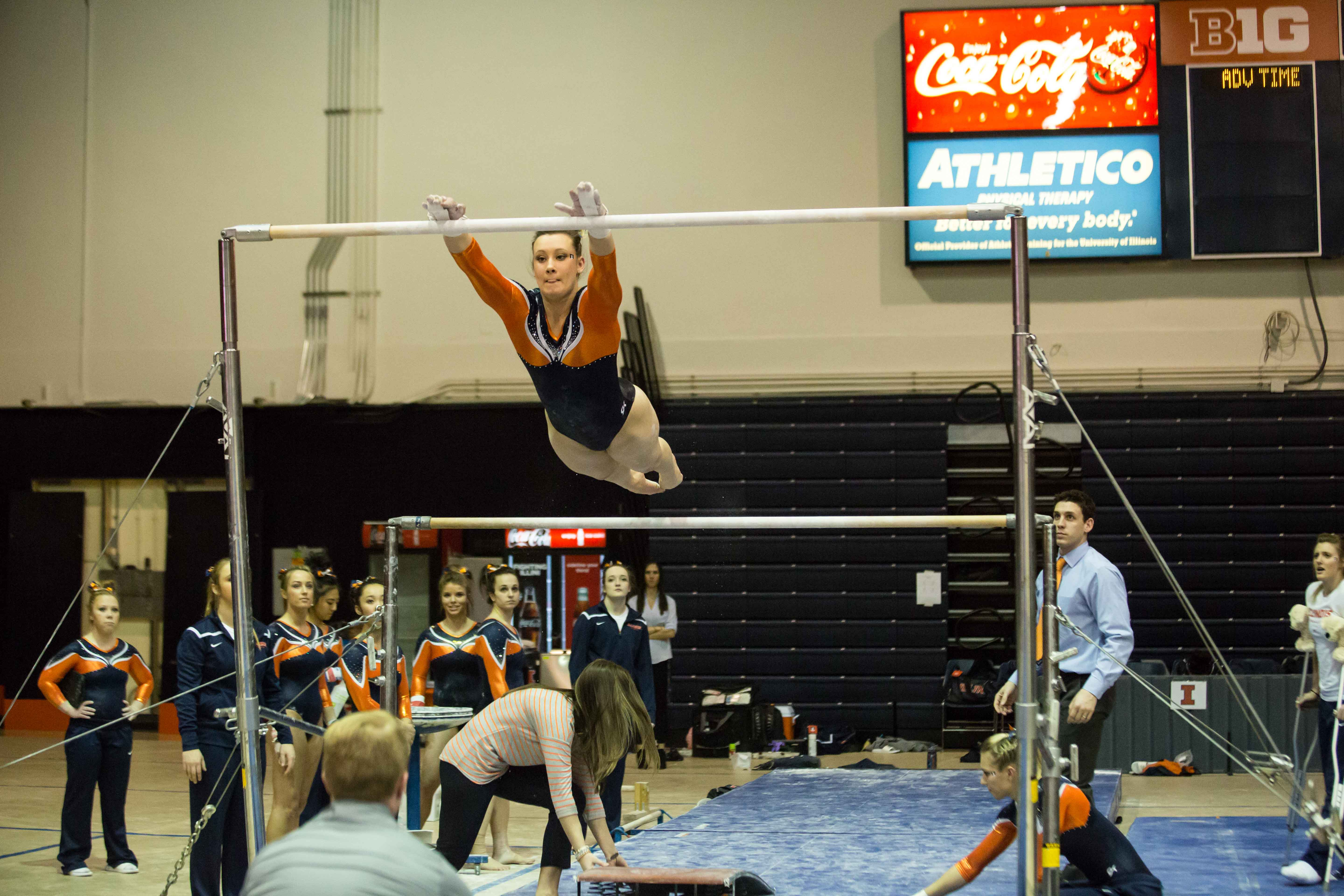 Illinois' Sarah Lyons performs a routine on the uneven parallel bars during the State of Illinois Classic at Huff Hall on Saturday, March 5, 2015. The Illini claimed victory for the ninth consecutive year with a total of 195.425 over Northern Illinois (194.225), UIC(192.625) and Illinois State (191.500).
