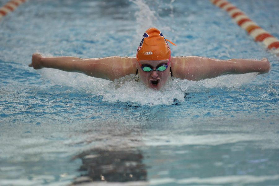 Illinois%27+Samantha+Stratford+swims+the+100+yard+butterfly+event+during+the+meet+against+Nebraska+at+the+ARC+on+Jan.+24%2C+2015.+The+Illini+won+171-129.