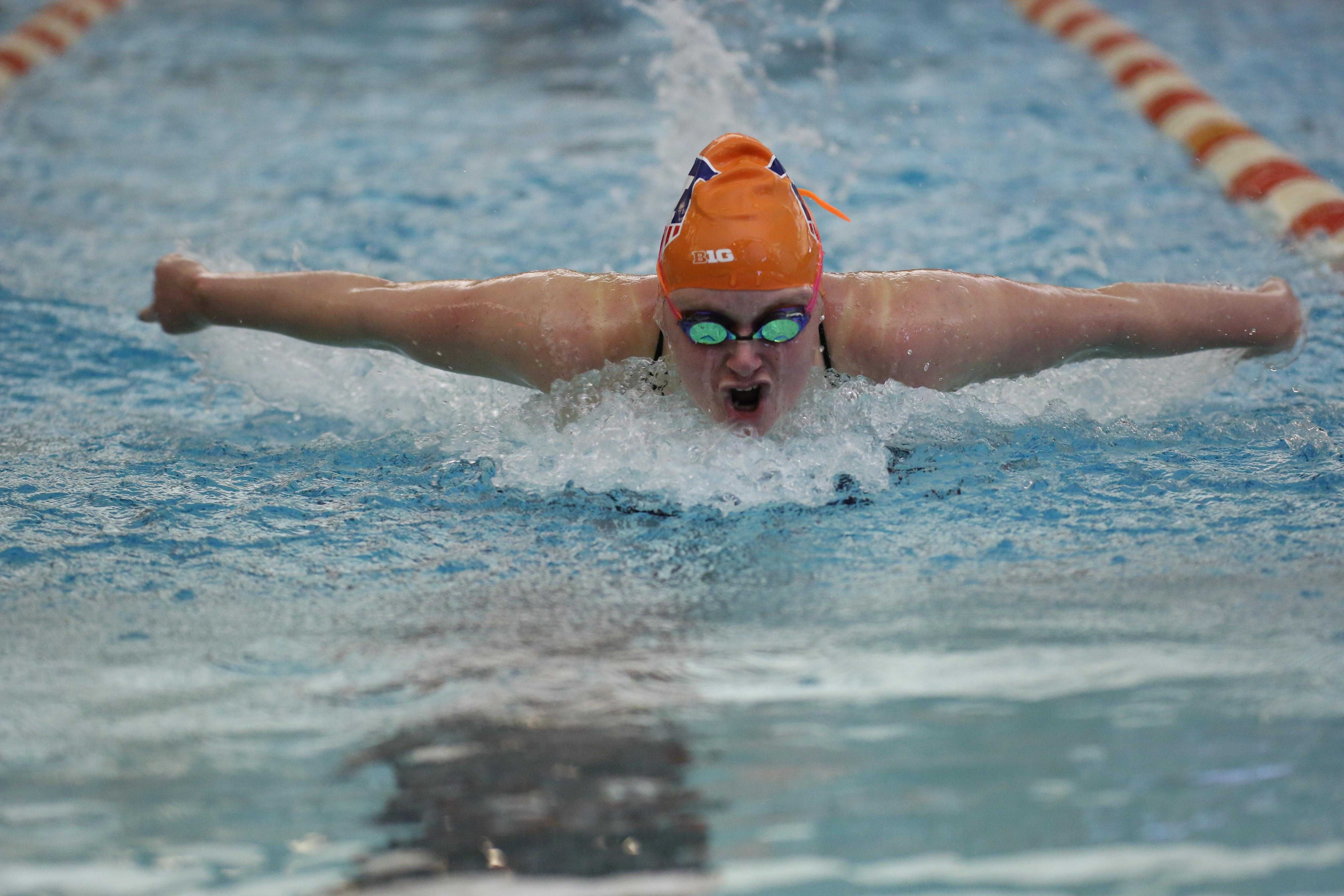Illinois' Samantha Stratford swims the 100 yard butterfly event during the meet against Nebraska at the ARC on Jan. 24, 2015. The Illini won 171-129.