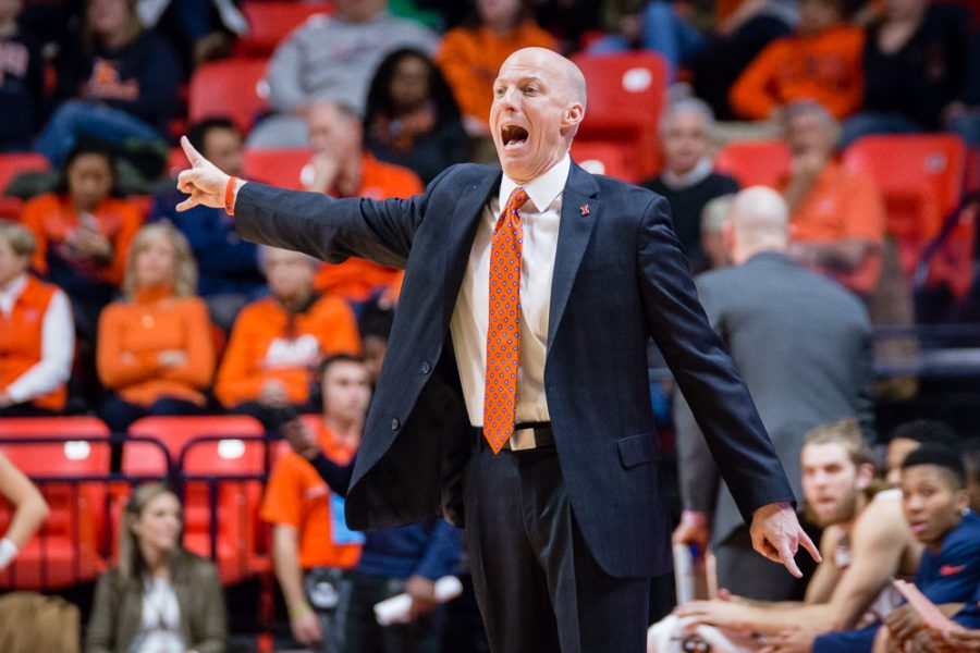Illinois head coach John Groce yells at his team from the sideline during the game against Central Michigan at State Farm Center on Saturday, December 10. The Illini won 92-73.