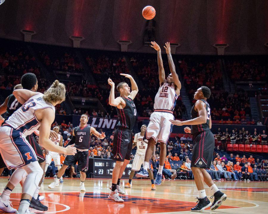 Illinois' Leron Black shoots a mid-range jumper during the game against IUPUI at State Farm Center on Tuesday, December 6. The Illini won 85-77.