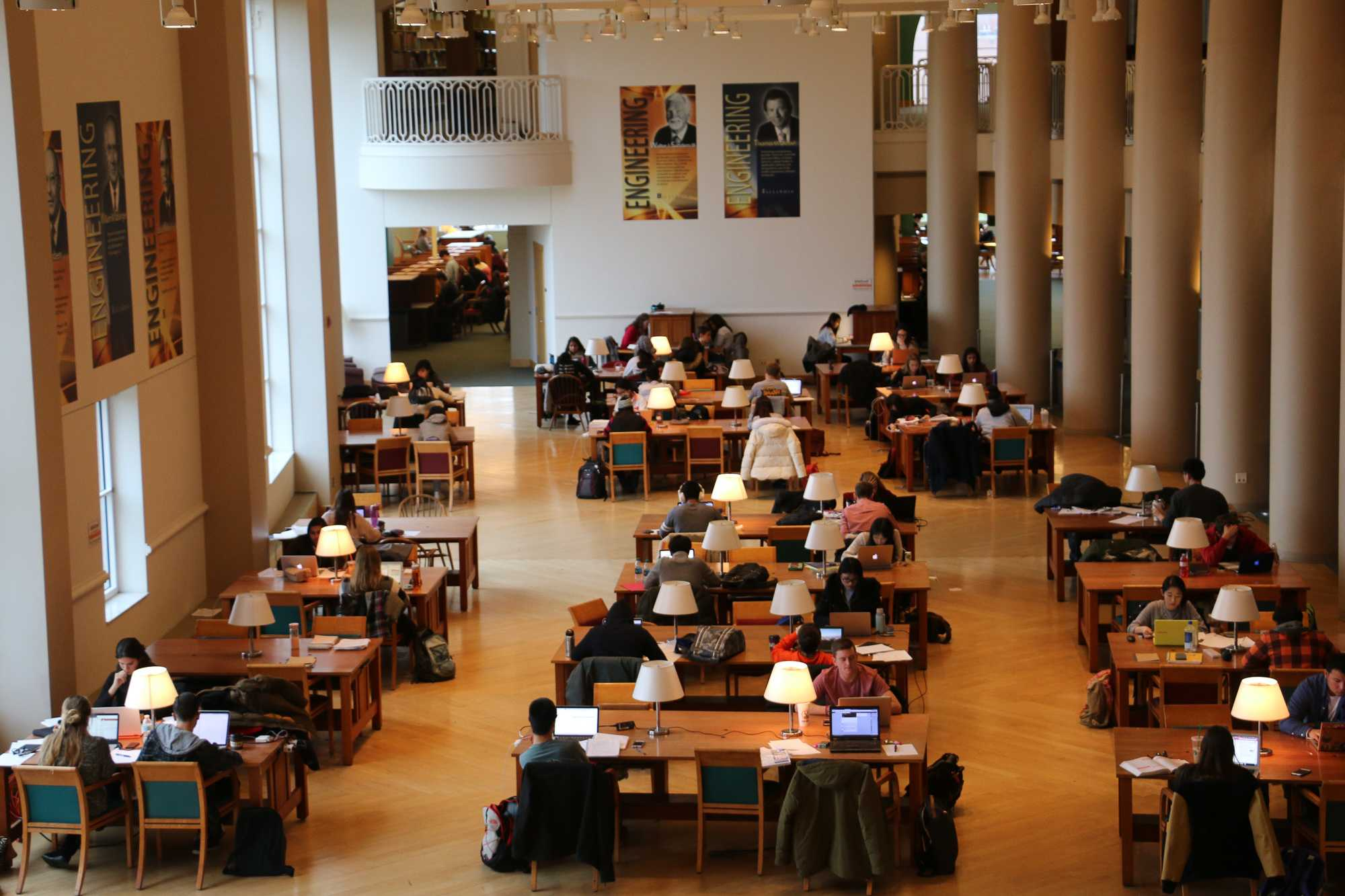 Students studying in Grainger Library for finals on Dec. 6.