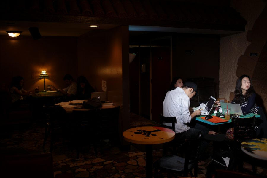 Students study at the Espresso Royale in Urbana.