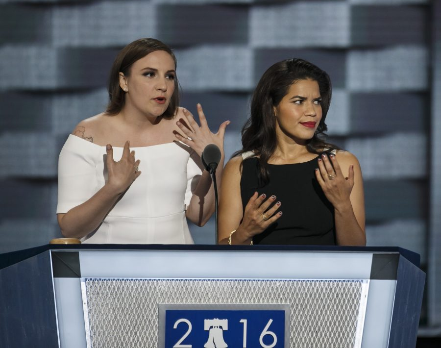 Actresses America Fererra, right, and Lena Dunham speak during the second day of the Democratic National Convention on Tuesday, July 26, 2016, at the Wells Fargo Center in Philadelphia. (Marcus Yam/Los Angeles Times/TNS)